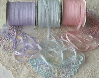 """5 Yds. China Silk Ribbon 4mm (1/8"""")- 3 Colors -  Crafts, Sewing, Dolls, Teddy Bears, Crazy Quilt, Ribbon Flowers, Embroidery, Miniatures"""