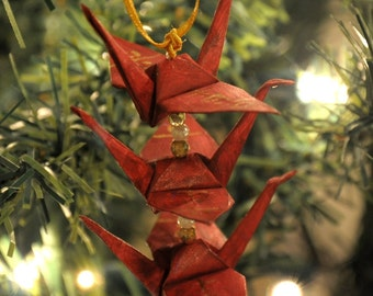 Oxblood Burgundy Origami Crane Trio Christmas Tree Ornament with Joy Happiness Kanji Holiday Decoration