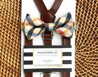 Leather Suspenders, Baby Bow Tie, Tartan Baby Bow Tie, Toddler Bow Tie, Plaid Baby Bow Tie, Plaid Baby/Toddler Bowtie Suspender Set- 6mo-5yr