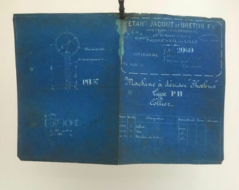 French industrial engineering blueprint, no. 2060 circa 1930s. Wonderful dark teal colour. Size: 410 x 290 mm.