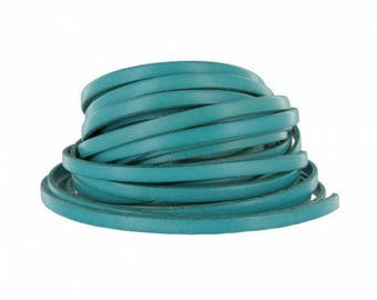 Cord flat leather, turquoise, 5 mm wide x 2 mm thick