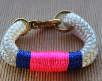 Customized Maine Rope Bracelet - White Rope - Blue / Neon Pink Accent - Made to Order