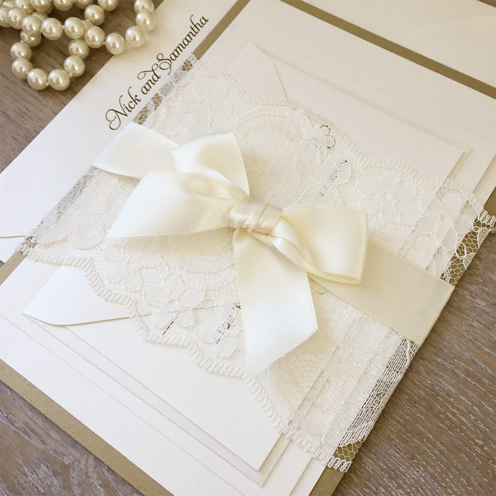 SAMANTHA Gold and Ivory Lace Wedding Invitation Ivory Lace Belly