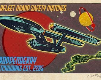 """Starfleet Brand Matchbox Art- 5"""" x 7"""" signed matted print"""