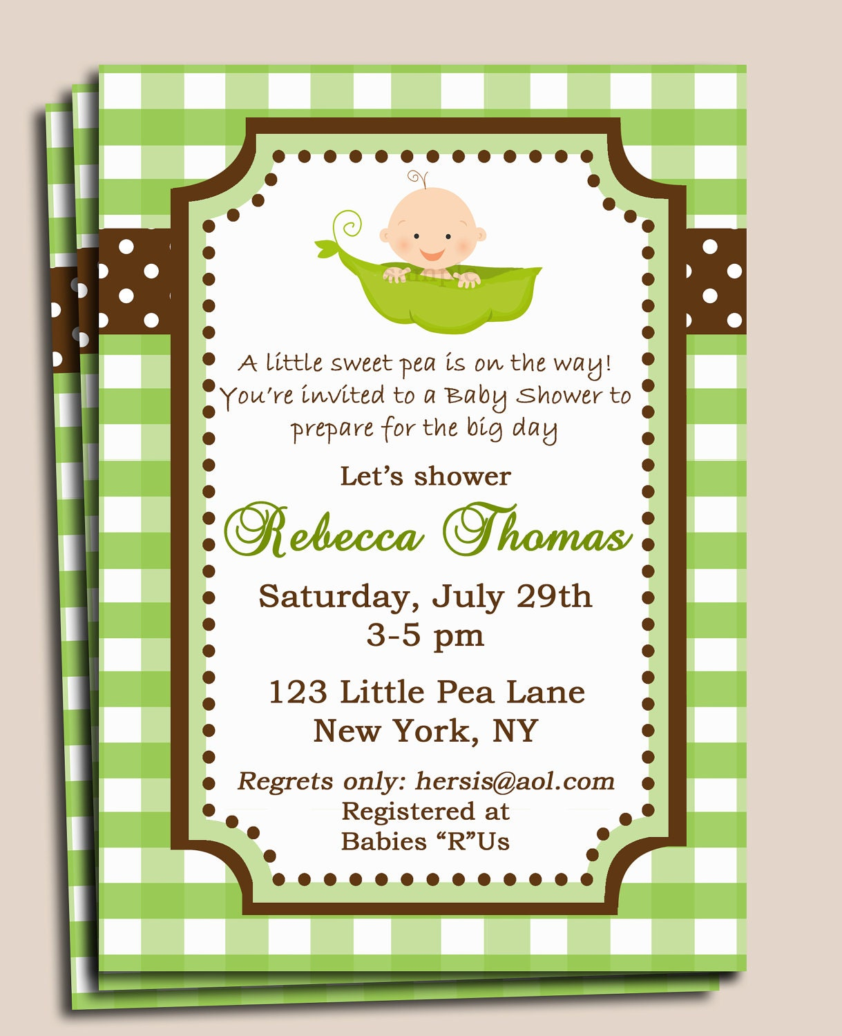 Pea in a Pod Baby Shower Invitation Printable or Printed w/