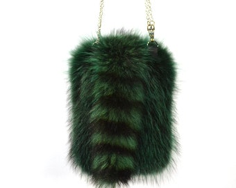 AuSable Fur Dyed Emerald Raccoon Cross- Body Purse