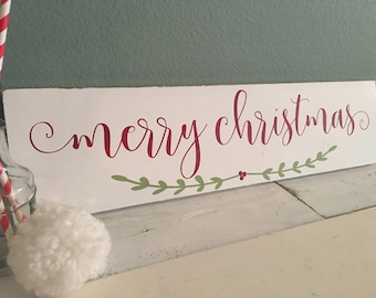 Merry Christmas Sign | Christmas Decor | Farmhouse Christmas | Country Decor | Cottage Xmas | Modern caligraphy