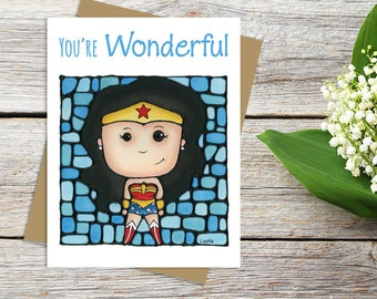Wonder Woman Greeting Card - Justice League - DC Comics - Cute Card - Thinking of You - Whimsical Card - Pun Stationary - Sci-fi Movie Card