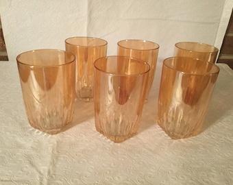 Vintage modern carnival glass  juice glasses .