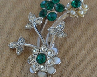 On sale Emerald Green, Clear Floral Brooch, Pin, Vintage (N11)