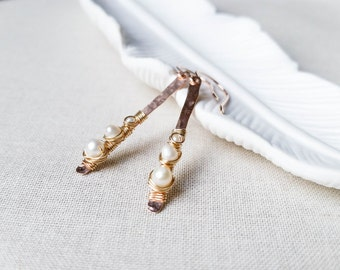 Rose Gold Pearl Twig Bridal Earrings Mixed Gold Fill Artisan Hammered Stick Drops with Wire Wrapped Freshwater Pearls Wedding Valentine