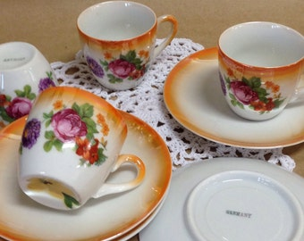 Set of Four Dematasse Cups and Saucers Made in Germany, Vintage Dematasse Tea Cups & Saucers