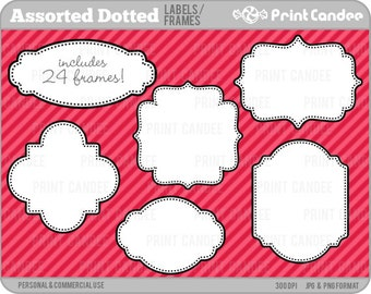 70% OFF SALE! - Assorted Dotted Labels (24 Pack) -  Personal and Commercial Use - digital clipart frames clip art