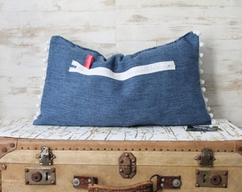 Cushion blue shabby chic, tassels, blue Decor, Bohemian chic, shabby chic, COUS150036/3 cushion