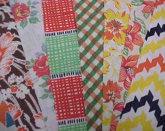 "BEST 20 Vintage YELLOW Feedsack Fabric Quilt  5 x 8"" Flour Sack Charm Pieces"