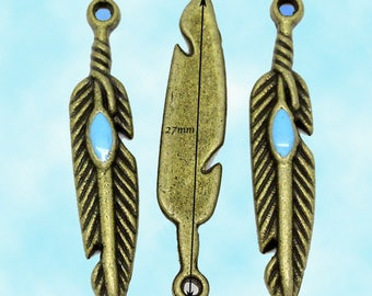 20 bronze feather charm and its blue enamelling 27x5mm