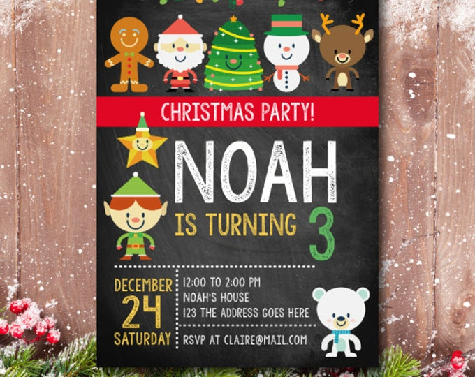 Christmas Birthday Invitation, Christmas Party Invite, Christmas Party, Christmas Invitation,  Christmas Birthday party