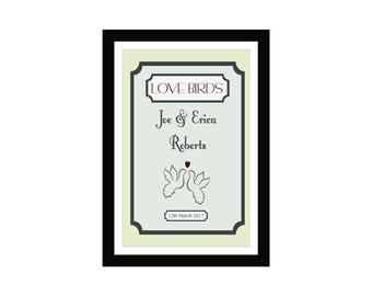Personalised Wedding Print Love Birds-Personalised