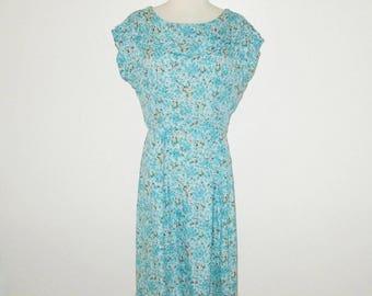 Vintage 1950s Dress / 50s Turquoise Blue Floral Silk Dress - Size M