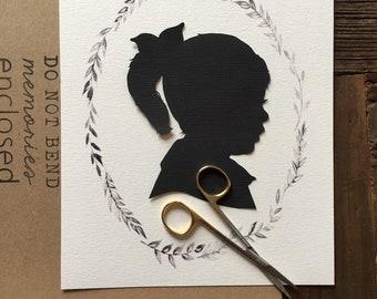 8x10 Custom Child Silhouette w/ Branches Wreath for Nurseries, Birthdays, Birth Gifts