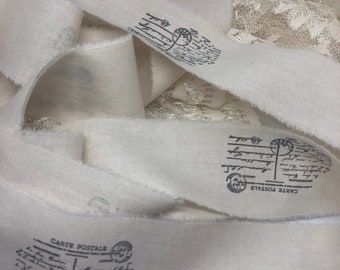 Carte Postale Muslin Trim, Hand Stamped Trim, French Style Ribbon, Muslin Vintage Inspired Hand Stamped Trim,  French Country Trim, ECS
