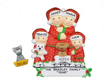 Personalized Family of 4 Ornament with Custom Dog or Cat - Pajama Family Four Personalized Ornament with Dog or Cat Added