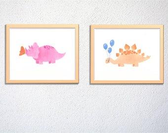 Cute dinosaur wall art set of 2, triceratops stegosaurus, nursery decor, kids and baby room decor - digital file - Instant download