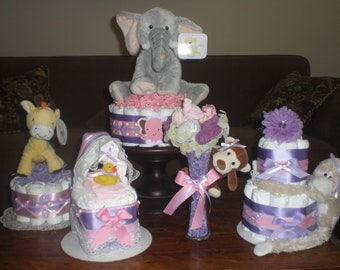 Girl Safari Jungle and Monkey Diaper Cakes Baby Shower Centerpieces other colors and sizes prices too please read