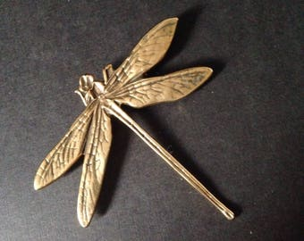 DRAGONFLY! Vintage Metropolitan Museum of Art (MMA) Lifesize Gold Plated Pin! Everyone Loves Dragonflies!