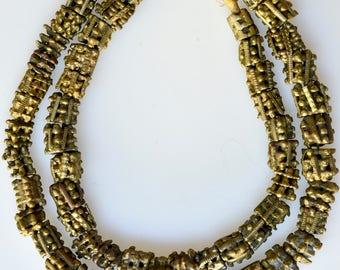 Textured Handmade Bronze Beads - African Trade Beads - 25 Inch Strand