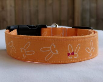 Hair Bow Bunny-Girly Easter-Adjustable Buckle-Martingale Dog Collar-Small-Large Breed Dog-1 inch 1.5 -2 inch width-Traffic-Dog Leash