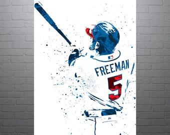 Freddie Freeman Atlanta Braves, Sports Art Print, Baseball Poster, Kids Decor, Watercolor Contemporary Abstract Drawing Print, Man Cave