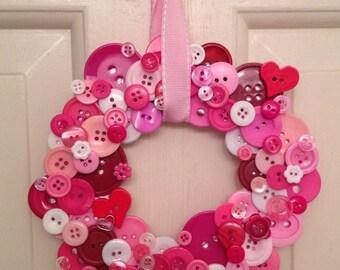 Pink Valentine's Day Button Wreath