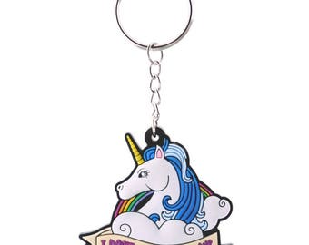 Unicorn Head Keyring, I Don't Believe in Humans Quote