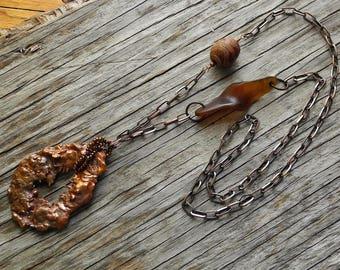 Long Necklace - Splash Copper Pendant - Copper Chain Jasper & Aged Agate Beads - Statement Necklace - Southwestern - BOHO