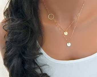 Initial Necklace, Layered initial, Personalized Monogram, Gift for Her, Gold Infinity Necklace • Mothers Day Gift