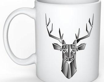 personalized mug - mug deer - deer origami - gift idea - gift for her - deer - Scandinavian - Scandinavian mug - mothers day gift