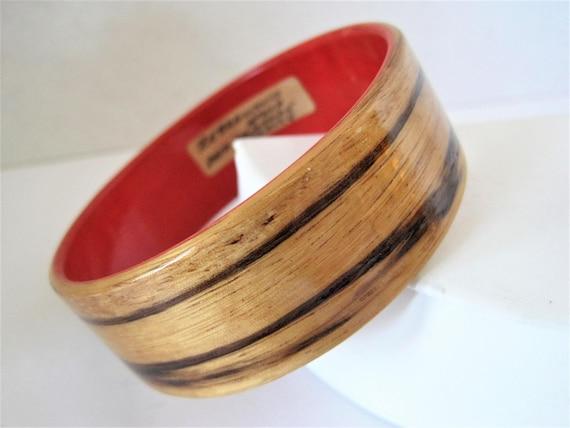 Zebra Wood Bangle,  Africa Dyed Sycamore Wood, Red Lined, Signed France Bracelet,