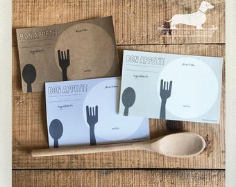Spoon and Fork. A Baker's Dozen (Qty 13) Set of 4x6 Recipe Cards -- (Simple, Modern, Cute, Birthday Gift, Gray, Funky, Fun, Under 15)