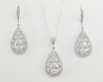 Bridal Jewelry Set, Cubic Zirconia Crystal Earrings Necklace, Ear wire Drop Earrings, Amelia Set - Ships in 1-3 Days