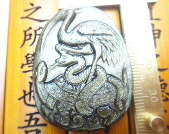Natural gold obsidian engraving stone Turtle/Snake/red-crowned crane pendants mascot