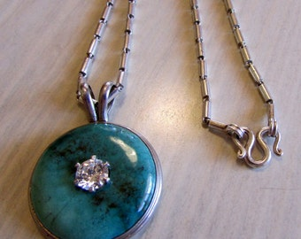 Sterling Silver Turquoise and CZ Necklace