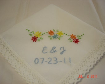 Wedding handkerchief/mexican fiesta hanky/ colorful/hand embroidered/wedding colors welcome