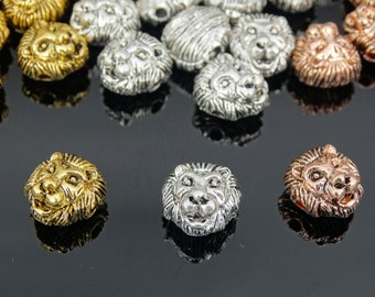Solid Metal Lion Head Bracelet Necklace Connector Charm Beads Silver Gold Rose Gold Gunmetal