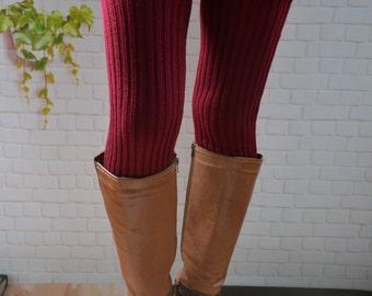 Knit Wine  red  25in  long womens Leg Warmers,The heavy winter socks,Knit woman Leg Warmers, wool   Leg Warmers, thigh high leg warmers ,