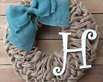 Front Door Wreath | Spring Burlap Wreath | Everyday Wreath | Year Round Wreath | Rustic Wreath | Farmhouse Wreath | Rustic Wreath