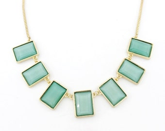 Elegant Gold-tone Green Rectangle Funky Statement Necklace,N2