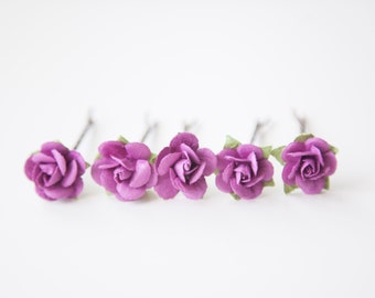 Floral Hair Pins Wedding Bobby Pins Pink Purple