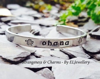 """Hand Stamped 'Ohana' 1/4"""" Aluminium Cuff Bracelet, Sea Turtle, Family, Gifts for Family, Ohana Bracelet,Stamped Metal, Stamped Jewellery"""