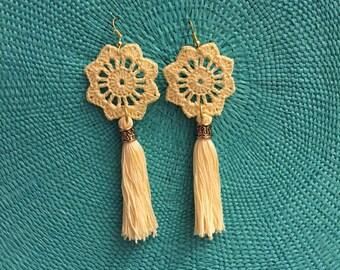 Handmade crocheted pastel earrings